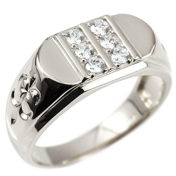 メンズ プラチナリング ダイヤモンド ユリの花 幅広 印台 指輪 リング シンプル ダイヤ pt900 ピンキーリング 男性用 フルール・ド・リス 送料無料 父の日