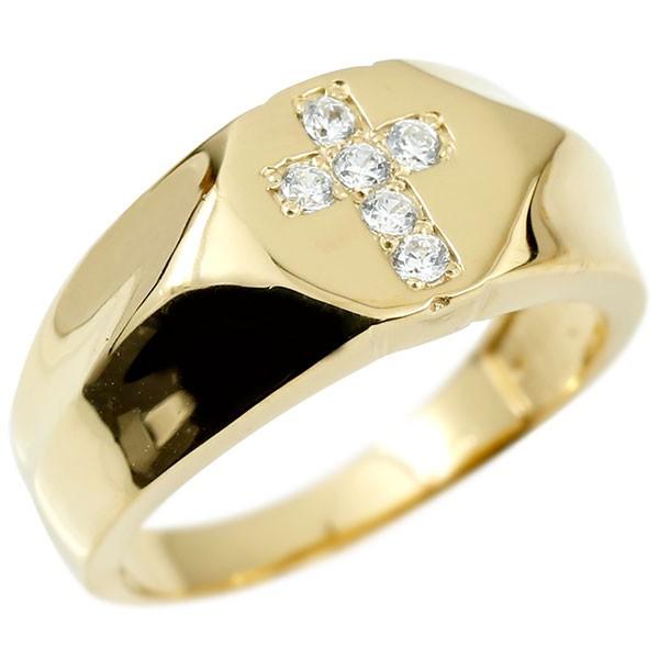 メンズ リング ダイヤモンド イエローゴールドk18 クロス 幅広 印台 指輪 リング シンプル ダイヤ ピンキーリング 18金 男性用 十字架 送料無料