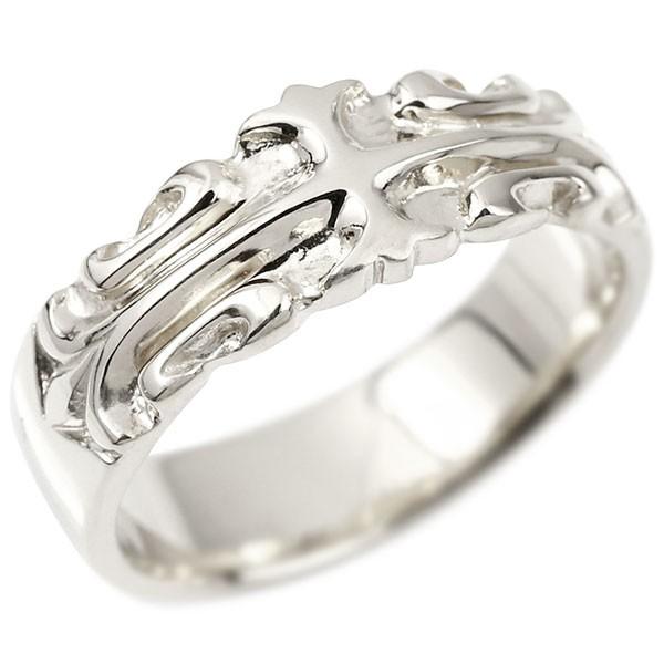 メンズ リング ホワイトゴールドk10 クロス ユリの花 幅広 指輪 地金 リング シンプル 宝石なし ピンキーリング フルール・ド・リス 10金 男性用