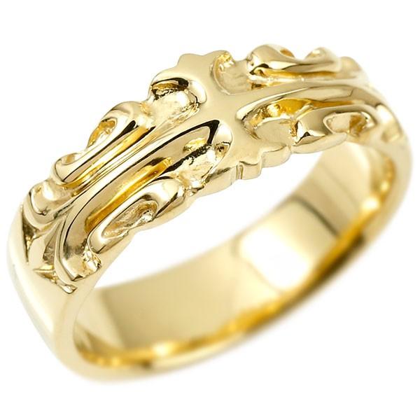 メンズ リング イエローゴールドk18 クロス ユリの花 幅広 指輪 地金 リング シンプル 宝石なし ピンキーリング フルール・ド・リス 18金 男性用