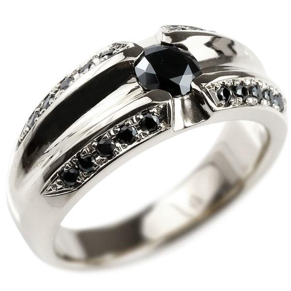 メンズ プラチナリング ブラックキュービックジルコニア 幅広 指輪 リング pt900 男性用 送料無料