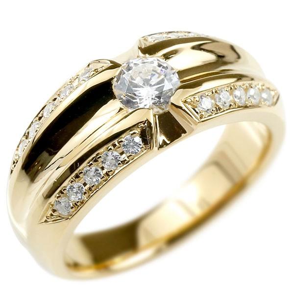 メンズ リング ダイヤモンド イエローゴールドk18 幅広 指輪 リング ダイヤ 一粒 大粒 18金 男性用 送料無料