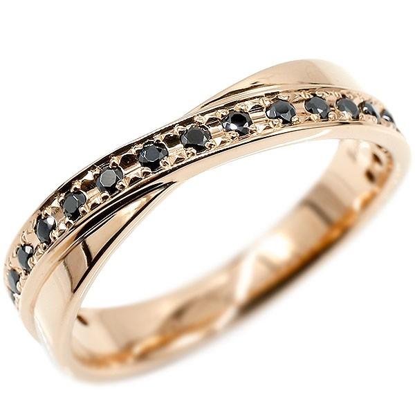 ボリューム感存在感ともに抜群 天然ダイヤモンドリング メンズ リング ピンクゴールドk18 ブラックダイヤモンド ピンキーリング ブラックダイヤ 指輪 18金 宝石 男性用 送料無料