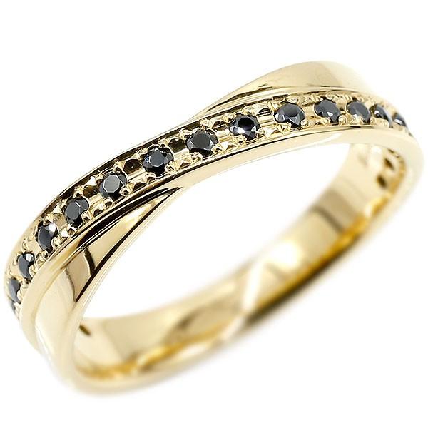 ボリューム感存在感ともに抜群 メンズ リング イエローゴールドk18 ブラックキュービックジルコニア ピンキーリング 指輪 18金 宝石 男性用 送料無料