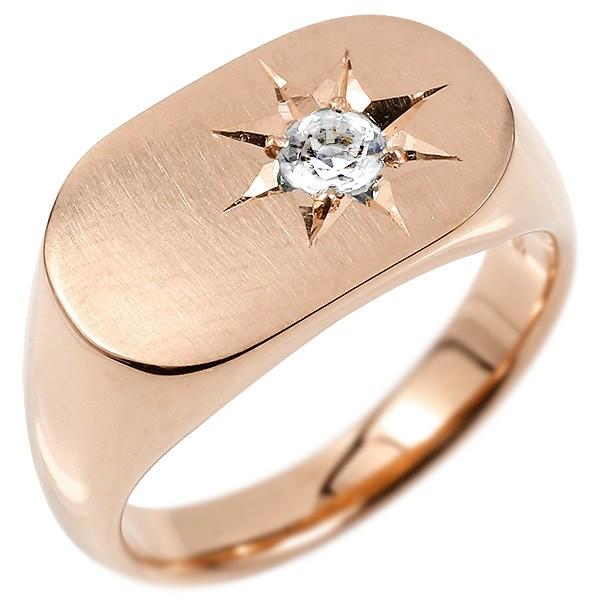 メンズ リング ダイヤモンド ピンクゴールドk10 印台 幅広 指輪 つや消し サテン仕上げ ダイヤ 一粒 後光留め 10金 男性用 ピンキーリング 送料無料