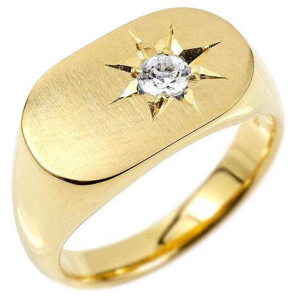 メンズ リング ダイヤモンド イエローゴールドk10 印台 幅広 指輪 つや消し サテン仕上げ ダイヤ 一粒 後光留め 10金 男性用 ピンキーリング 送料無料