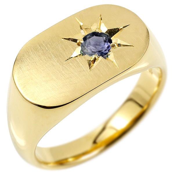 メンズ リング アイオライト イエローゴールドk10 印台 幅広 指輪 つや消し サテン仕上げ 一粒 後光留め 10金 男性用 ピンキーリング 送料無料