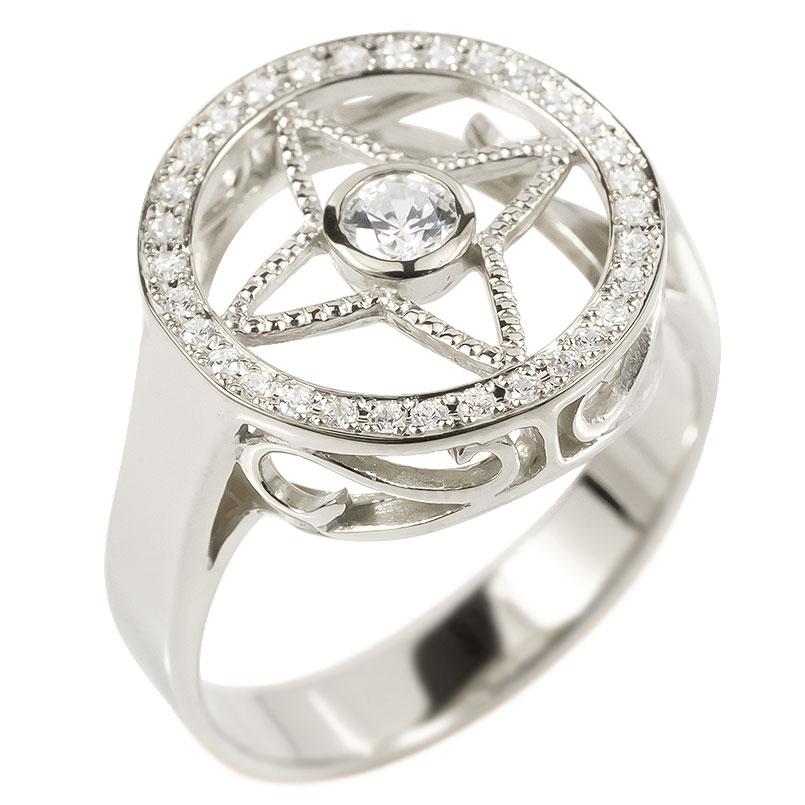メンズ リング ダイヤモンド シルバー925 四芒星 指輪 sv925 ピンキーリング リング ダイヤ 男性用 コントラッド 東京 送料無料