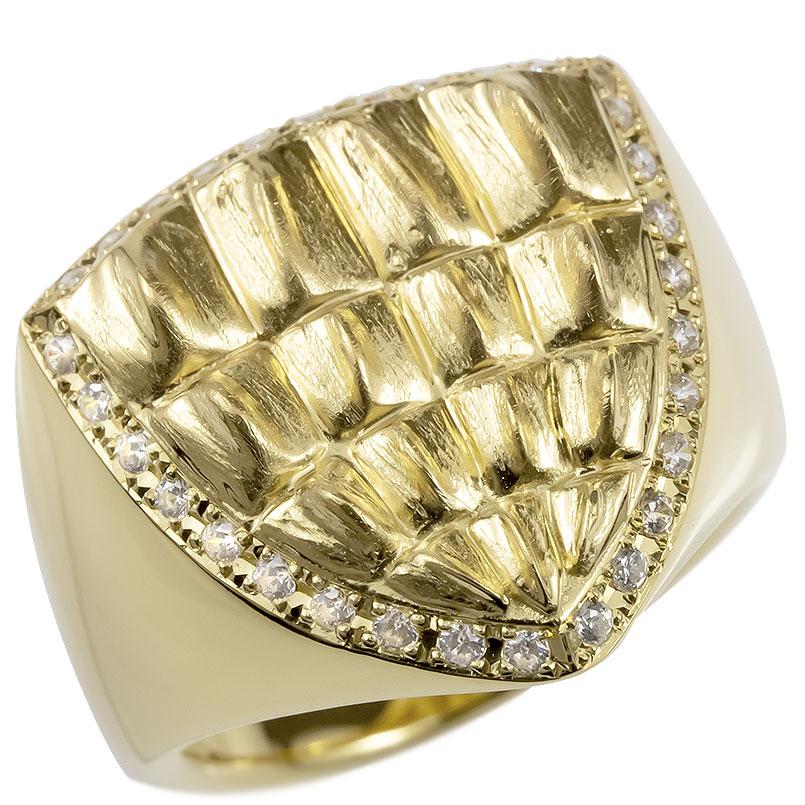 18金 リング メンズ 印台 ゴールド ダイヤモンド ダイヤ 指輪 18k イエローゴールドk18 太め クロコダイル シンプル ピンキーリング ワニ 男性 幅広 送料無料