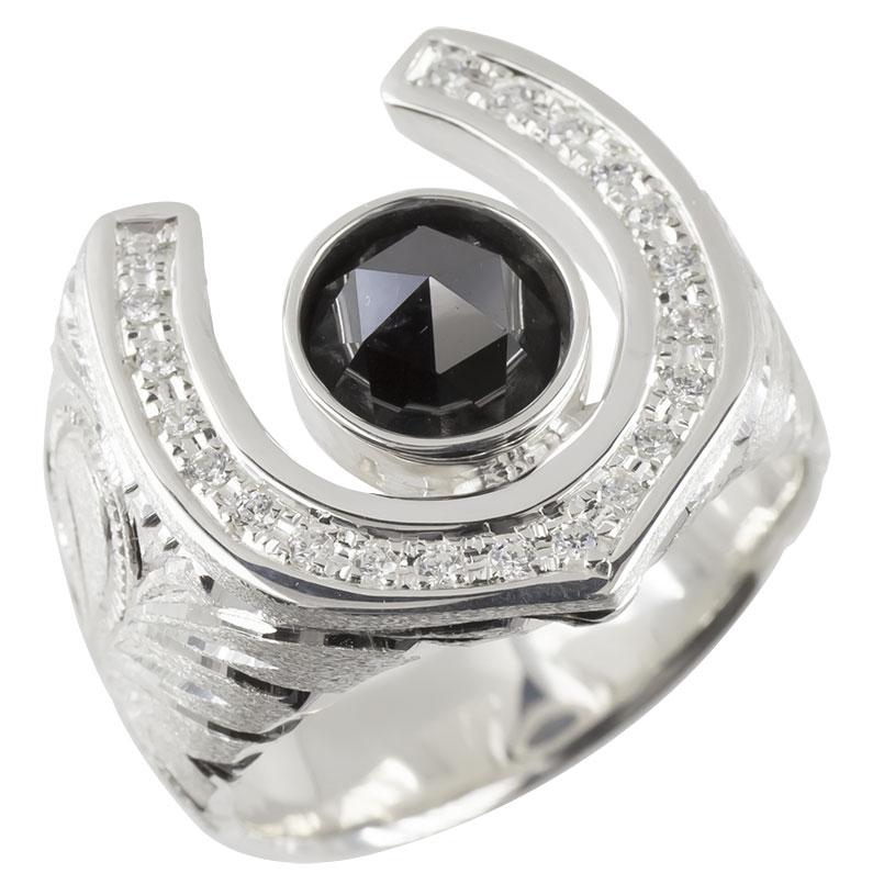 プラチナ リング メンズ ブラックダイヤモンド 一粒 ダイヤ 指輪 pt900 ハワイアンジュエリー 馬蹄 ホースシュー 蹄鉄 シンプル ピンキーリング 男性 送料無料