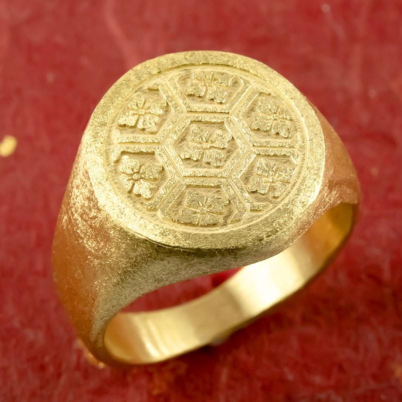 24金 指輪 メンズ 印台 亀甲に桔梗紋 純金 リング 幅広 k24 24k 金 ゴールド ピンキーリング シンプル 人気 男性用 送料無料 父の日