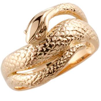 メンズリング 蛇リング 指輪 スネーク ヘビ ピンキーリング ピンクゴールドk18 18金 地金リング シンプル 宝石なし 男性用 送料無料