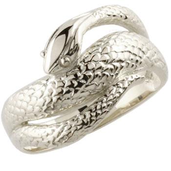 メンズ プラチナリング 蛇リング 指輪 スネーク ヘビ ピンキーリング 地金リング シンプル 宝石なし 男性用 送料無料