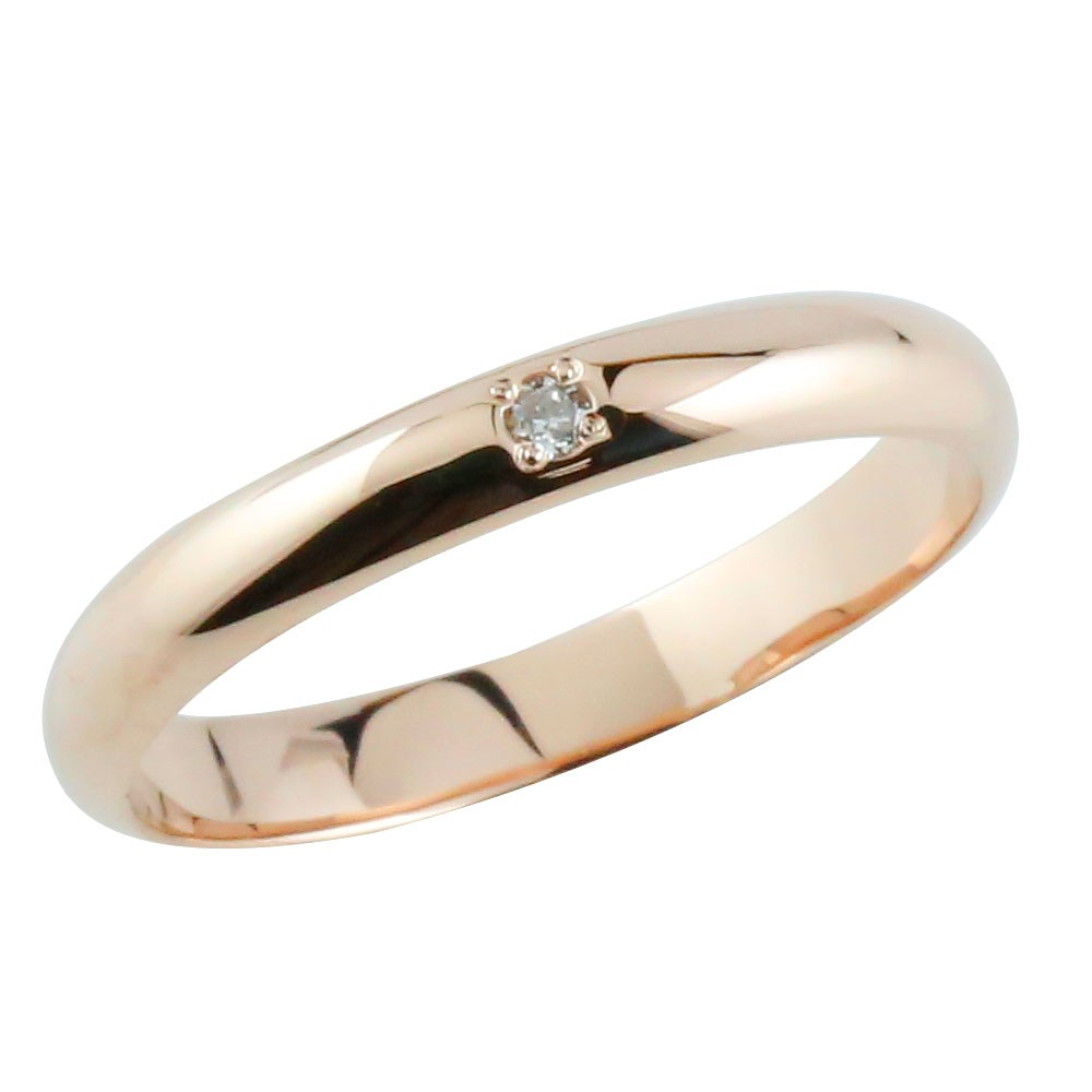 メンズ ダイヤモンドリング ピンキーリング ピンクゴールドk18 指輪 甲丸リング ダイヤ 18金ストレート 2.3 男性用 送料無料