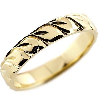 ハワイアンジュエリー メンズ リング イエローゴールドk18 指輪 18金ストレート 男性用 送料無料