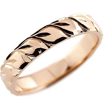 ハワイアンジュエリー メンズ リング ピンクゴールドK18 指輪 18金ストレート 男性用 送料無料