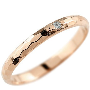 メンズ ピンキーリング アクアマリンリング ピンクゴールドk18 指輪 k18 3月誕生石18金 ストレート 2.3 男性用 宝石 送料無料