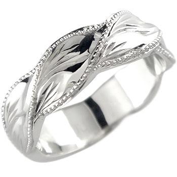 ハワイアンジュエリー メンズ ハワイアンリング マイレ 指輪 ホワイトゴールドK18 18金ストレート 男性用 送料無料