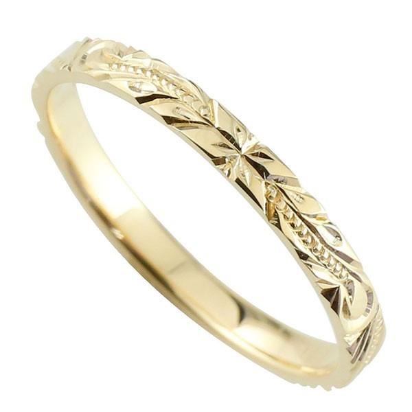 ハワイアンジュエリー メンズ ハワイアンリング 指輪 スクロール 波 イエローゴールドk18 K18 ハワイ 18金ストレート 2.3 男性用 送料無料
