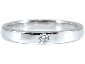 メンズリング 人気 ダイヤモンドリング 指輪 ホワイトゴールドK18 一粒0.03ct 18金ピンキーリング ダイヤ ストレート 男性用 宝石 送料無料