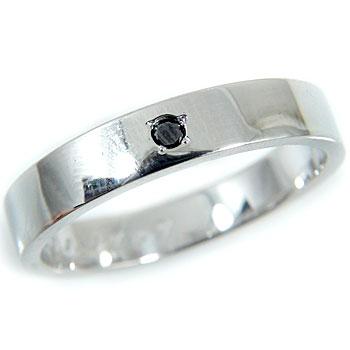 メンズリング 人気 プラチナ リング ブラックダイヤモンド 一粒 指輪ピンキーリング ダイヤ ストレート 男性用 宝石 送料無料