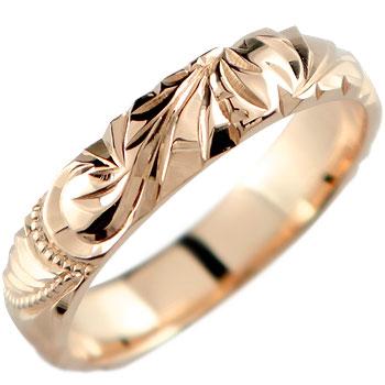 永遠に輝き続ける深彫りのハワイアンジュエリー ハワイアンジュエリー メンズ ハワイアンリング 指輪 男性用 ピンクゴールドK18 K18PG 優先配送 ランキング総合1位 18金ストレート 送料無料