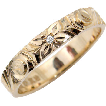 ハワイアンジュエリー メンズ ダイヤモンド 指輪 ピンクゴールドK18 オリジナル 手彫りハワイアンリング 18金ダイヤ ストレート 男性用 送料無料 父の日