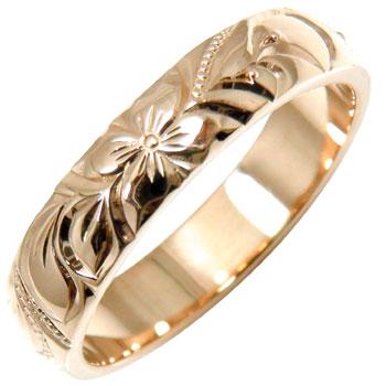 永遠に輝き続ける深彫りのハワイアンジュエリー ハワイアンジュエリー 店内全品対象 限定タイムセール メンズ ハワイアンリング 指輪 ピンクゴールドK18 送料無料 K18PG 男性用 18金ストレート