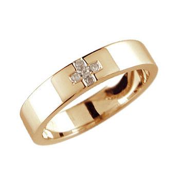 メンズリング 人気 クロス ダイヤモンド リング ピンクゴールドK18 18金ピンキーリング ダイヤ ストレート 男性用 送料無料