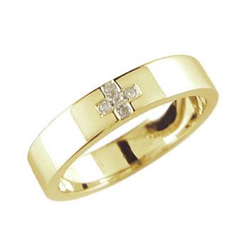 メンズリング 人気 クロス ダイヤモンド リング 指輪 イエローゴールドK18 18金ピンキーリング ダイヤ ストレート 男性用 送料無料