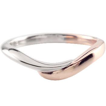 メンズリング 人気 プラチナ リング 指輪 ピンクゴールドk18 コンビ 18金ピンキーリング ストレート 男性用 送料無料