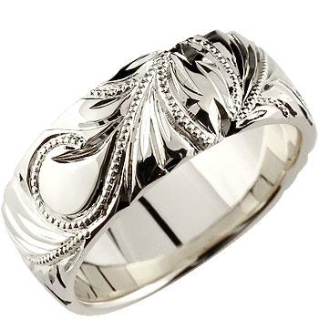 ハワイアンジュエリー メンズ ハワイアンリング 幅広 指輪 地金リング ホワイトゴールドk18 18金 ミル打ち ストレート 男性用 送料無料 父の日