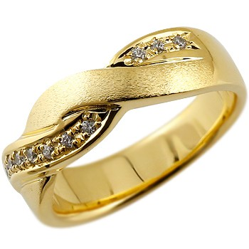 メンズ ダイヤモンドリング ダイヤ 指輪 ダイヤモンド リング 幅広 ピンキーリング つや消し イエローゴールドk18 18金ストレート 男性用 送料無料
