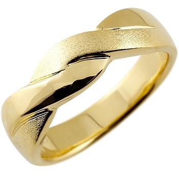 メンズ リング 指輪 幅広 ピンキーリング 地金リング イエローゴールドk18 つや消し 18金ストレート 男性用 送料無料