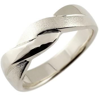 メンズ リング 指輪 幅広 ピンキーリング 地金リング ホワイトゴールドk18 つや消し 18金ストレート 男性用 送料無料