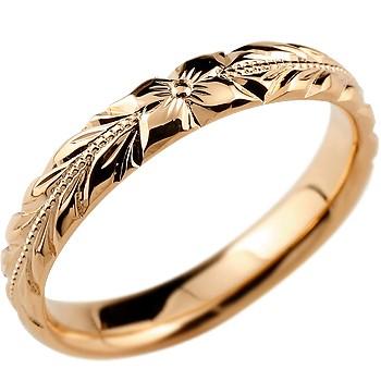 ハワイアンジュエリー メンズ リング 指輪 ハワイアンリング ピンクゴールドk18 ピンキーリング 地金リング リーガルタイプ 幅広 ミル打ち 18金 送料無料