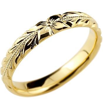 永遠に輝き続ける深彫りのハワイアンジュエリー ハワイアンジュエリー メンズ リング 指輪 ハワイアンリング イエローゴールドk18 ピンキーリング 地金リング リーガルタイプ 幅広 ミル打ち 18金