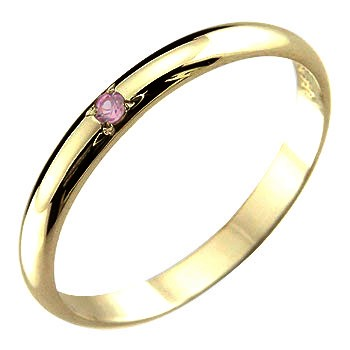 メンズ 指輪 ピンキーリングピンクサファイアイエローゴールドk18 k1818金 ストレート 2.3 男性用 宝石 送料無料