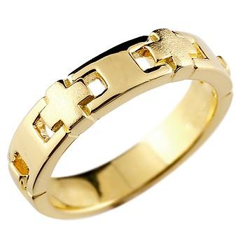 メンズ クロスリング 指輪 幅広 ピンキーリング 地金リング イエローゴールドk18 十字架 つや消し 18金ストレート 男性用 送料無料