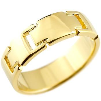 メンズ クロス リング 指輪 ピンキーリング 地金リング 幅広指輪 イエローゴールドk18 18金 十字架 シンプル 宝石なしストレート 男性用 送料無料