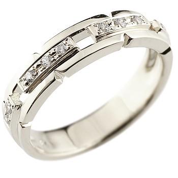 メンズ ダイヤモンド リング 幅広 指輪 ピンキーリング ダイヤ ダイヤモンドリング ホワイトゴールドk18 18金ストレート 男性用 送料無料