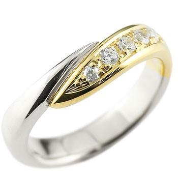 メンズジュエリー 個性が光る  メンズ キュービックジルコニア リング 指輪 コンビリング ピンキーリング プラチナ イエローゴールドk18 スパイラル ウェーブリング 送料無料
