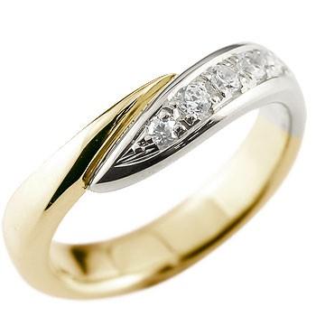 メンズ ダイヤモンド リング 指輪 コンビリング ピンキーリング ダイヤ ダイヤモンドリング イエローゴールドk18 プラチナ スパイラル ウェーブリング