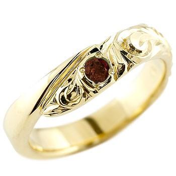 ハワイアンジュエリー メンズ ガーネット イエローゴールドk10リング 指輪 ハワイアンリング スパイラル k101月誕生石 男性用 宝石 送料無料