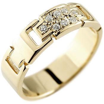 ダイヤモンドでクロスを描くスタイリッシュなリング メンズ クロス ダイヤモンド リング 指輪 ダイヤモンドリング ピンキーリング イエローゴールドk18 ダイヤ 幅広指輪 十字架 18金ストレート 送料無料