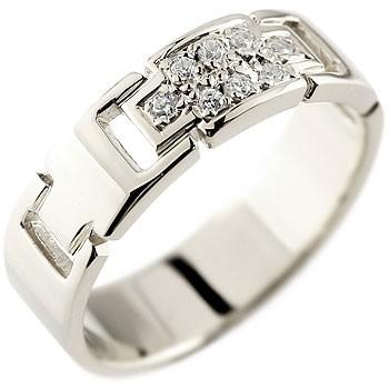 メンズ クロス ダイヤモンド リング 指輪 ダイヤモンドリング ピンキーリング ホワイトゴールドk18 ダイヤ 幅広指輪 十字架 18金ストレート 送料無料
