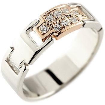 メンズ クロス ダイヤモンド リング プラチナ ピンクゴールドk18 コンビリング ダイヤモンドリング ピンキーリング ダイヤ 幅広指輪 十字架18金 送料無料