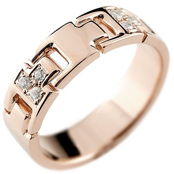 メンズ ダイヤモンド リング 指輪 ダイヤモンドリング ピンキーリング ピンクゴールドk18 ダイヤ 幅広指輪 18金ストレート 男性用 送料無料