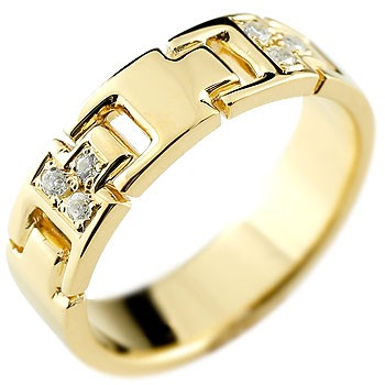 シンプルなのに印象的 ダイヤモンドリング 幅広指輪 メンズ ダイヤモンド リング 指輪 ダイヤモンドリング ピンキーリング イエローゴールドk18 ダイヤ 幅広指輪 18金ストレート 男性用 送料無料