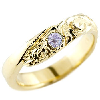 ハワイアンジュエリー メンズ タンザナイト イエローゴールドk10リング 指輪 ハワイアンリング スパイラル k1012月誕生石 男性用 宝石 送料無料